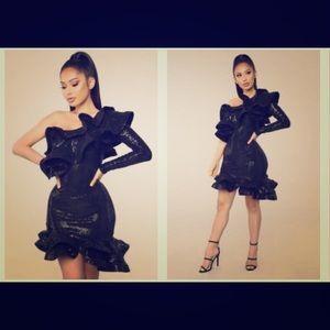 Black Sequin Ruffle Dress - Worn Once (LIKE NEW)